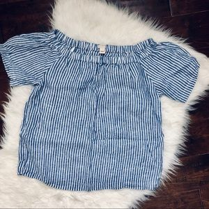 J. Crew Factory Striped linen off-the-shoulder top